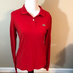 Lacoste women's long sleeve polo red size 38 (6)